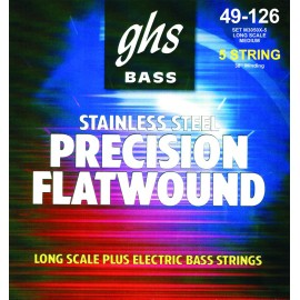 Ghs 5 String Precision Flats 45-126 Medium Stainless Steel Extra Long Scale Flatwound Bass Strings M3050X-5