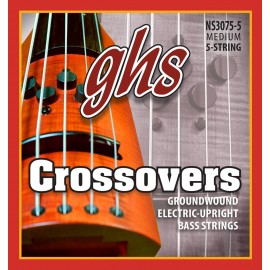 Ghs 5 String Crossovers Electric Upright Bass 37-127 Regular Groundwound Alloy 52 Electric Strings NS3075-5