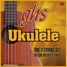 Ghs 100 4 String Nylon Baritone Ukulele 28-34 Tie Ends Black Nylon & Phosphor Bronze Ukulele Strings