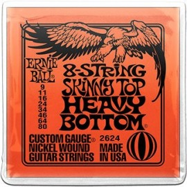 Ernie Ball 2625 '8 String Super Slinky Skinny Top Heavy Bottom Nickel Wound ' 09 - 80,  Electric Guitar Strings