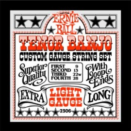 Ernie Ball 2306 '4 String Tenor Banjo Loop End' 09 - 28, Light, Stainless Steel Banjo Strings