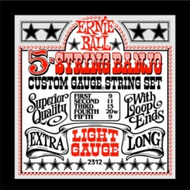 Ernie Ball 2312 '5 String Tenor Banjo Loop End' 09 - 09, Light, Stainless Steel Banjo Strings