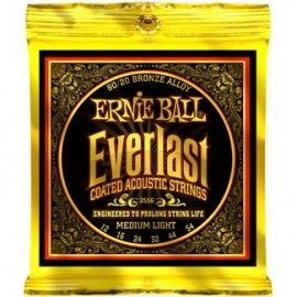 Ernie Ball Everlast Coated 12-54 Medium Light Acoustic Guitar Strings 2556