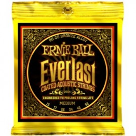 Ernie Ball Everlast Coated Medium Acoustic 80/20 Bronze Acoustic Guitar Strings