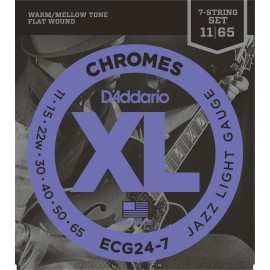 D'Addario 7 String XL Chromes 11-65 Jazz Light Flat Wound Electric Guitar Strings ECG24-7