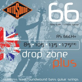 Rotosound RS66LH+ Drop Zone Plus 85-175 Stainless Steel Bass Guitar Strings