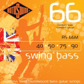 Rotosound RS66M Swing Bass 66 Medium Scale 40-90 Stainless Steel Bass Strings