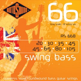Rotosound RS668 8 String Swing Bass 66 Long Scale 8 STRING OCTAVE 20-105 Stainless Steel Roundwound Bass Strings