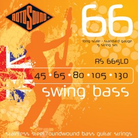 Rotosound RS665LD 5 String Swing Bass 66 Standard Gauge 45-130 Stainless Steel Roundwound Bass Strings