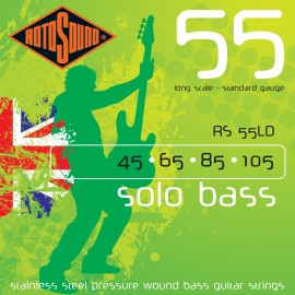 Rotosound RS55LD Solo Bass 55 Standard Gauge 45-105 Stainless Steel Pressure Wound Bass Strings