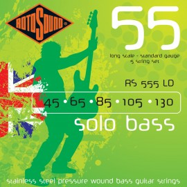 Rotosound RS555LD 5 String Solo Bass 55 Standard Gauge 45-130 Stainless Steel Pressure Wound Bass Strings