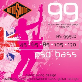Rotosound RS995LDG 5 String PSD Bass 99 Standard Gauge 45 - 130 Stainless Steel Piano String Design Bass Strings