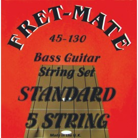 Fret-Mate 139928 5 String Stainless Steel Roundwound Standard 45-130 Bass Guitar Strings