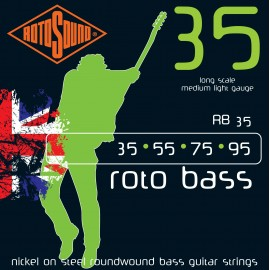 Rotosound RB35 Roto Bass Nickel on Steel Roundwound Bass Guitar Strings 35 - 95 Long Scale