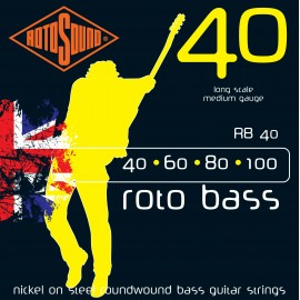Rotosound RB40 Roto Bass Nickel on Steel Roundwound, Medium, Long Scale, Bass Guitar Strings 40 - 100