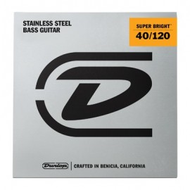 Dunlop 5 String Super Bright 40-120 Light Stainless Steel Bass Guitar Strings DBSBS40120