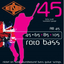 Rotosound RB45 Roto Bass Nickel on Steel Roundwound, Standard, Long Scale, Bass Guitar Strings 45 - 105