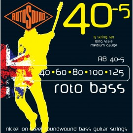 Rotosound RB40-5 5 String Roto Bass Nickel on Steel Roundwound, Medium, Long Scale, Bass Guitar Strings 40 - 125