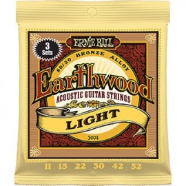 Ernie Ball 3004 '3 Set' Pack Earthwood Light Acoustic 80/20 Bronze 11 - 52 Acoustic Guitar Strings