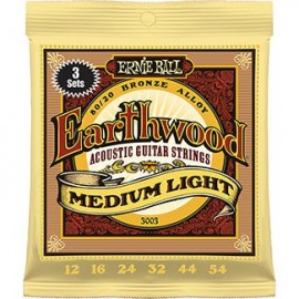 Ernie Ball 3003 '3 Set' Pack Earthwood Med-Light Acoustic 80/20 Bronze 12 - 54 Acoustic Guitar Strings