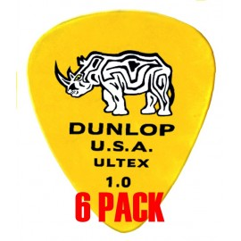 Jim Dunlop 421P1.0 '6 Pack' Ultex Standard Yellow Guitar Pick 1.0mm