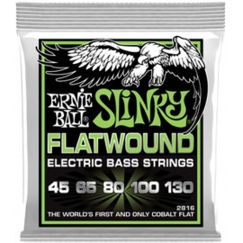 Ernie Ball 2816 '5 String Cobalt Flatwound Slinky' 45 - 130 Bass Guitar Strings