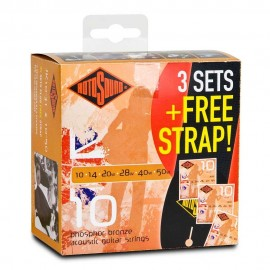 Rotosound 3 Set Pack Acoustic Jumbo King 10 - 50 Phosphor Bronze Acoustic Guitar Strings + FREE Guitar Strap