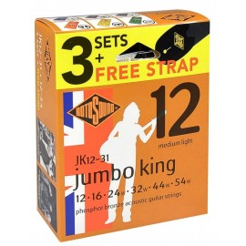 Rotosound 3 Set Pack Acoustic Jumbo King 12-54 Phosphor Bronze Acoustic Guitar Strings + FREE Guitar Strap