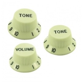 GT557 Guitar Tech Strat Style Volume & Tone Controls - Mint Green - Pack of 3