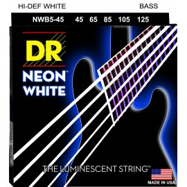 Dr Handmade 5 String Coated Neon WHITE 45-125 Medium Bass Strings NWB5-45