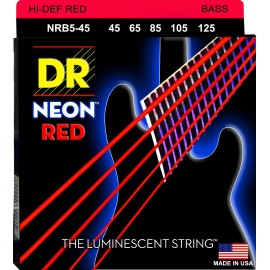 Dr Handmade 5 String Coated NEON RED 45-125 Medium Bass Strings