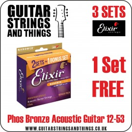 Elixir E16545 3 set incl a Bonus Set! Phosphor Bronze with NANOWEB Coating 12-53 Acoustic Guitar Strings