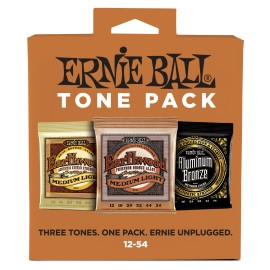 Ernie Ball TONE PACK 12-54 Medium Light Acoustic Guitar Strings P03313