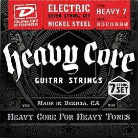 Dunlop DHCN1060 7 String HEAVY CORE NPS 10-60 Heavy 7 Guage Electric Guitar Strings