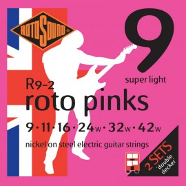 Rotosound 2 SETS Roto Pinks R9-2 Super Light Nickel Wound 09-42 Electric Guitar Strings