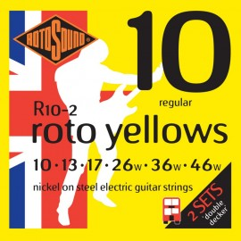 Rotosound 2 SETS Roto Yellows R10-2 Regular Nickel Wound 10-46 Electric Guitar Strings
