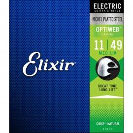 Elixir 19102 OPTIWEB Coated 11-49 Medium Electric Guitar Strings