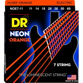 Dr Handmade NOE7-11 Hi-Def 7 String NEON ORANGE Coated Nickel Plated 11-60 Med Heavy Electric Guitar Strings