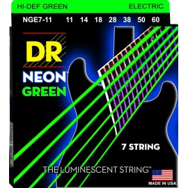 Dr Handmade NGE7-11 Hi-Def 7 String NEON GREEN Coated Nickel Plated 11-60 Med Heavy Electric Guitar Strings