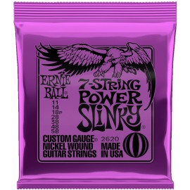 Ernie Ball 2620 7 String Power Slinky Nickel Wound 11-58 Electric Guitar Strings