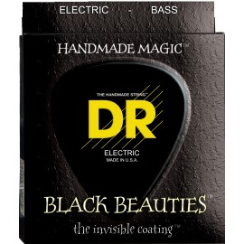 DR Handmade BKB5-45  'Black Beauties' 5 String K3 Black Coated, Medium Bass Strings 45 - 125