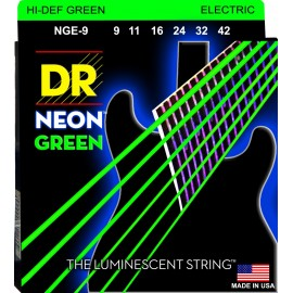 Dr Handmade NGE-9 Hi-Def NEON GREEN Coated NIckel Plated 09-42 Lite Electric Guitar Strings
