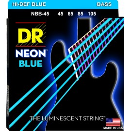 DR Handmade NBB-45  'Blue Neon' K3 Coated, Medium, Bass Strings 45 - 105