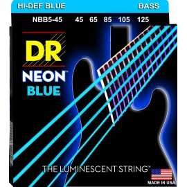 DR Handmade NBB5-45  'Blue Neon' 5 String, K3 Coated, Medium, Bass Strings 45 - 125