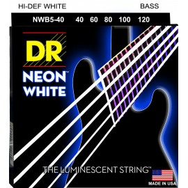 Dr Handmade 5 String Coated Neon WHITE 40-120 Light Bass Strings NWB5-40
