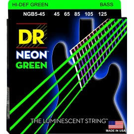 Dr Handmade 5 String Coated Neon GREEN 45-125 Medium Bass Strings NGB5-45