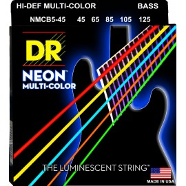 Dr Handmade 5 String Coated Neon MULTI-COLOR 45-125 Medium Bass Strings NMCB5-45