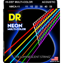 Dr Handmade Multi-Color Neon Coated 11-50 Custom Light Acoustic Guitar Strings NMCA11