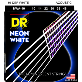 Dr Handmade Multi-Color Neon Coated 10-48 Extra Light Acoustic Guitar Strings NMCA10