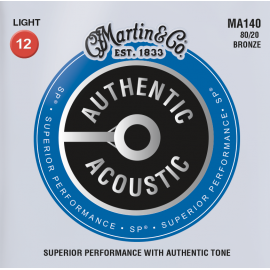 Martin MA140 Authentic Acoustic SP Light Acoustic 12-54 80/20 Bronze Acoustic Guitar Strings